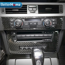 BetterHumz Carbon Fiber Air Conditioning CD Control Panel Interior Trim Decoration Car Styling For BMW E90 E92 E93 3 Series