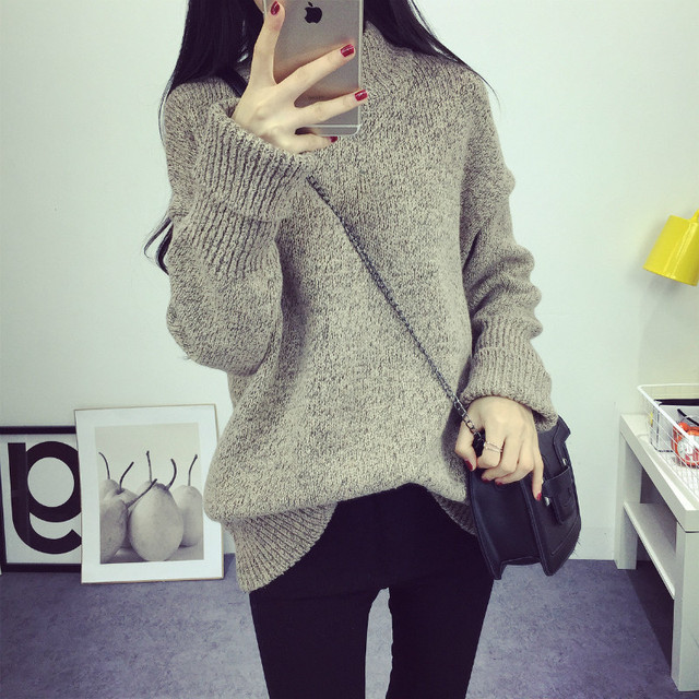 Women Sweater Autumn Winter Loose Knit Jumper New Fashion Solid Color Thick  Warm Pullovers Vintage O 8b26717d5