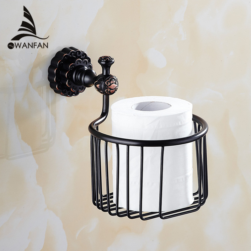 Paper Holders Solid Brass Bronze Toilet Paper Basket Bathroom Shelf Wall Mounted Bathroom Accessories WC Tissue Holder FE-8607 gold crystal wall mounted toilet paper holders brass wc roll paper tissue basket bathroom accessories