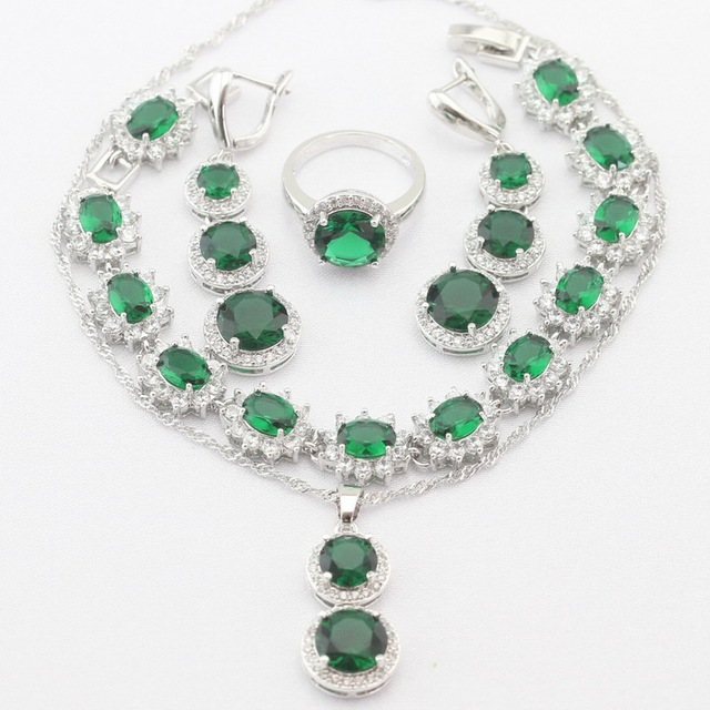 Long Round Silver Plated Christmas Women Jewelry Sets Necklace Pendant  Drop Earrings Rings bracelet Green Imitated Emerald CZ