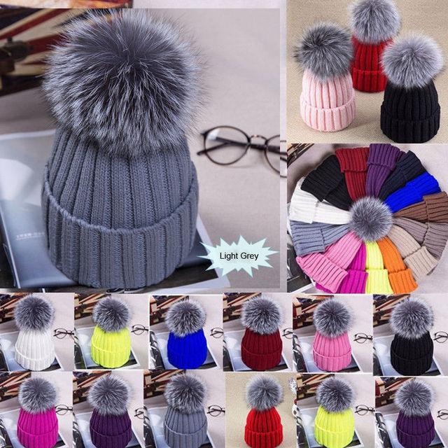 De piel de invierno pompón sombrero para las mujeres de lana de Cachemira de algodón sombrero de piel de zorro sombrero de invierno de punto Beanie sombrero sombreros