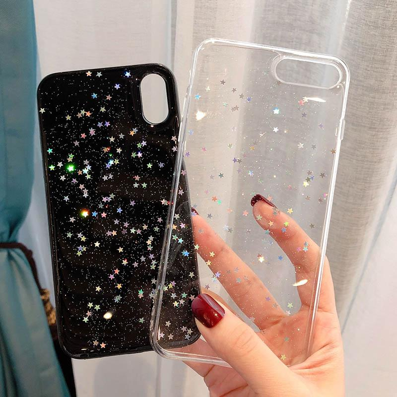 HTB163WRM3DqK1RjSZSyq6yxEVXa7 - Lovebay Bling Star Glitter Soft TPU Phone Cases For iphone 11 Pro XS Max XR X 8 7 6 6S Plus 5S SE Powder Transparent Cover