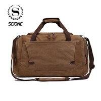 Scione Men Canvas Travel Bags Suitcase Waterproof Luggage Duffel Shoulder Bag Large Capacity Solid Crossbody Portable Handbag