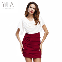 Yilia 2016 New Women Elegant Work Dress Summer Red White Black Patchwork Midi Mini Pencil Bodycon
