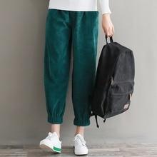 Женские свободные брюки весна осень женские вельветовые шаровары с эластичной талией винтажные шаровары зеленый, коричневый