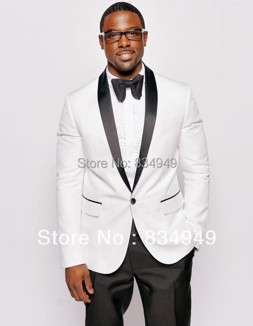 White Tuxedo Jacket Black Lapel Custom Made ,white jacket ...  White Tuxedo Ja...