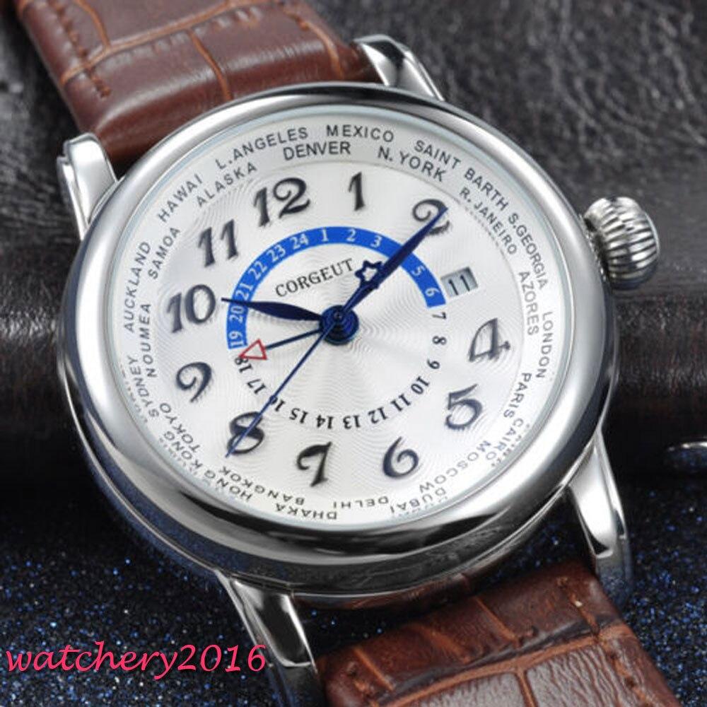 Corgeut 43 ミリメートル新加入ホワイト手 Gmt 日付窓ミネラルガラストップブランドの高級自動 Mechancial メンズ腕時計  グループ上の 腕時計 からの 機械式時計 の中 1
