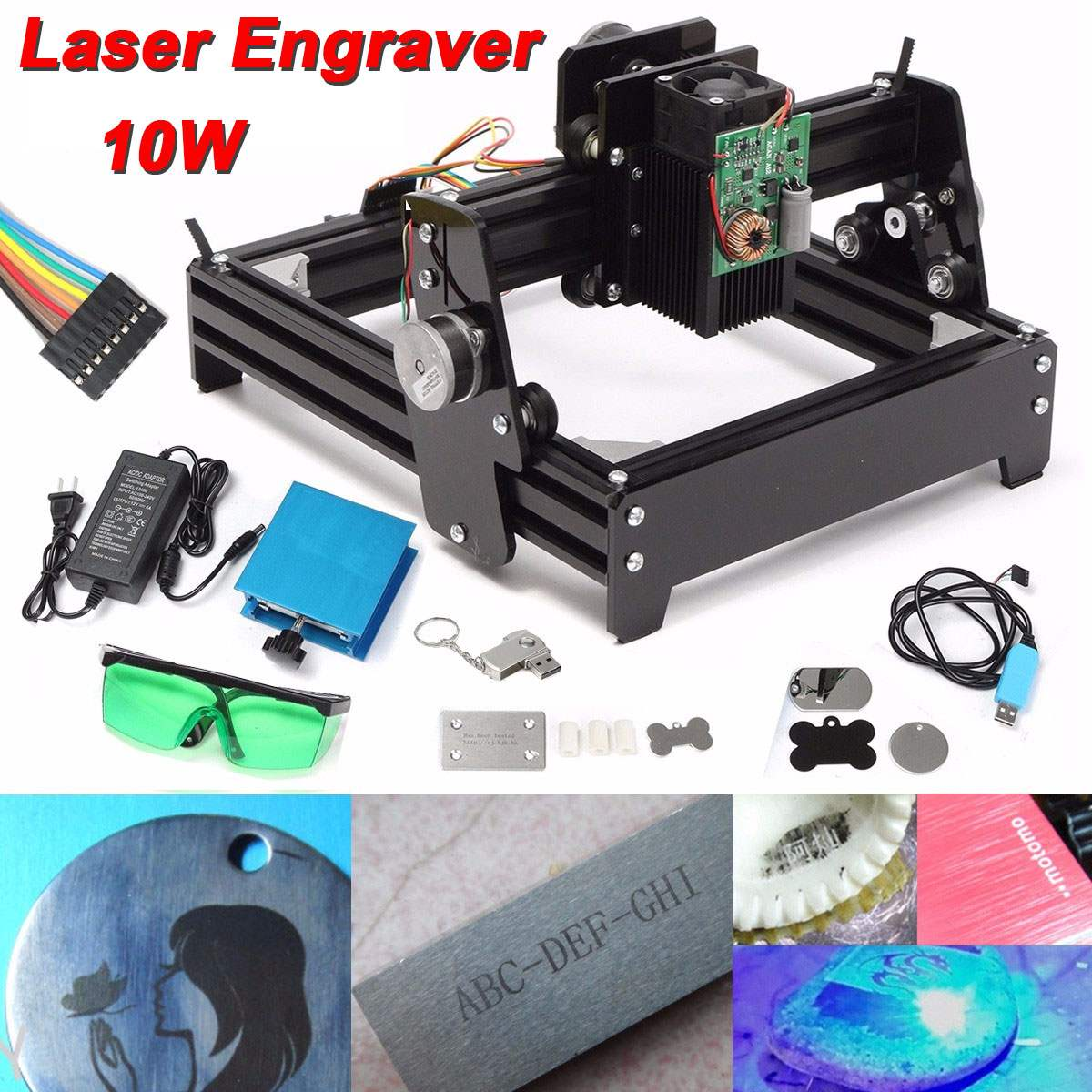 10W Laser USB Desktop 10000mW CNC Laser Engraver DIY Marking Machine For Metal Stone Wood Engraving Area 14 x 20cm blue laser head engraving module wood marking diode 2 5w glasses circuit board for engraver wood metal plastic carving mayitr