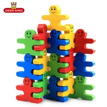 16pcs Wood creative cartoon balance villain stacked building blocks children wood early childhood education toys