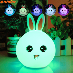 New LED Rabbit Night Light Multicolor Silicone Touch Sensor Tap Control Nightlight For Children Baby Kids Bedside Animal Lamp