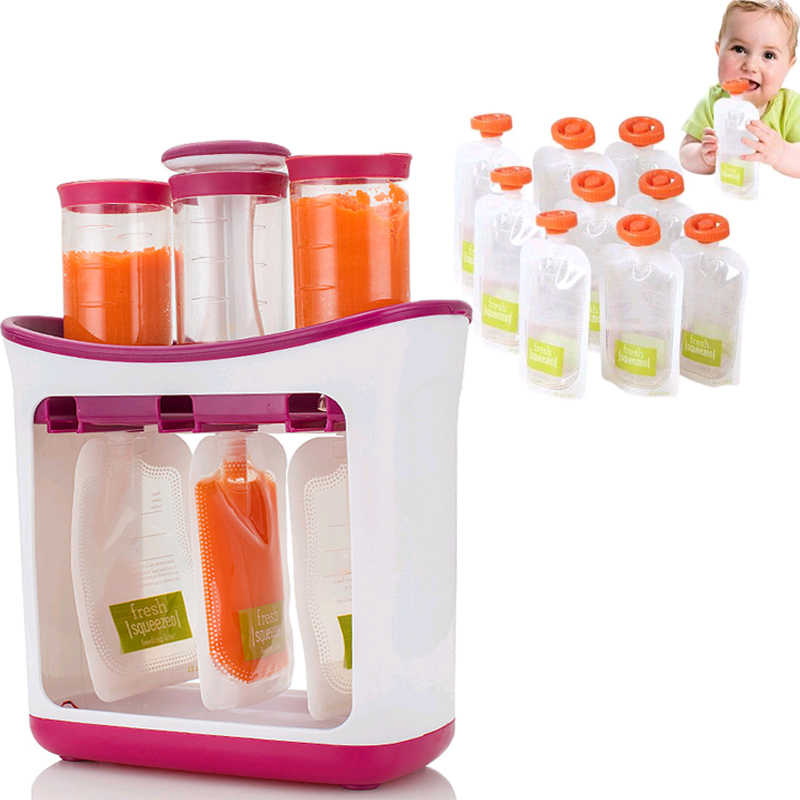 FDA Baby Fresh Fruit Juice Containers Storage Baby Food Maker Machine Reusable Feeding Pouches Storage Bags Feeding Kit
