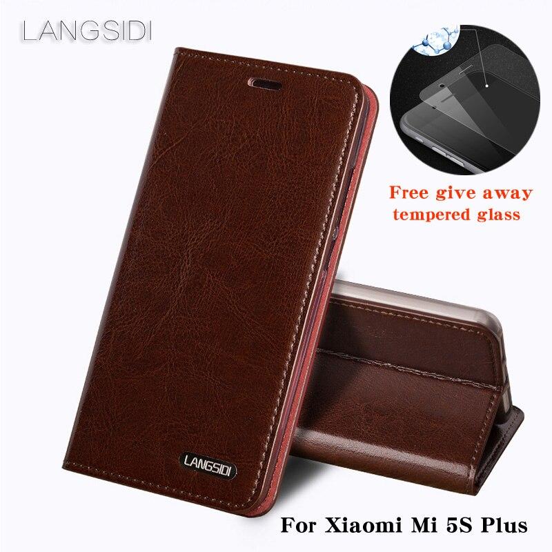 Coque pour xiaomi Mi5S Plus coque de téléphone huile cire peau portefeuille flip Stand titulaire fentes pour cartes étui en cuir pour envoyer un film de verre de téléphone