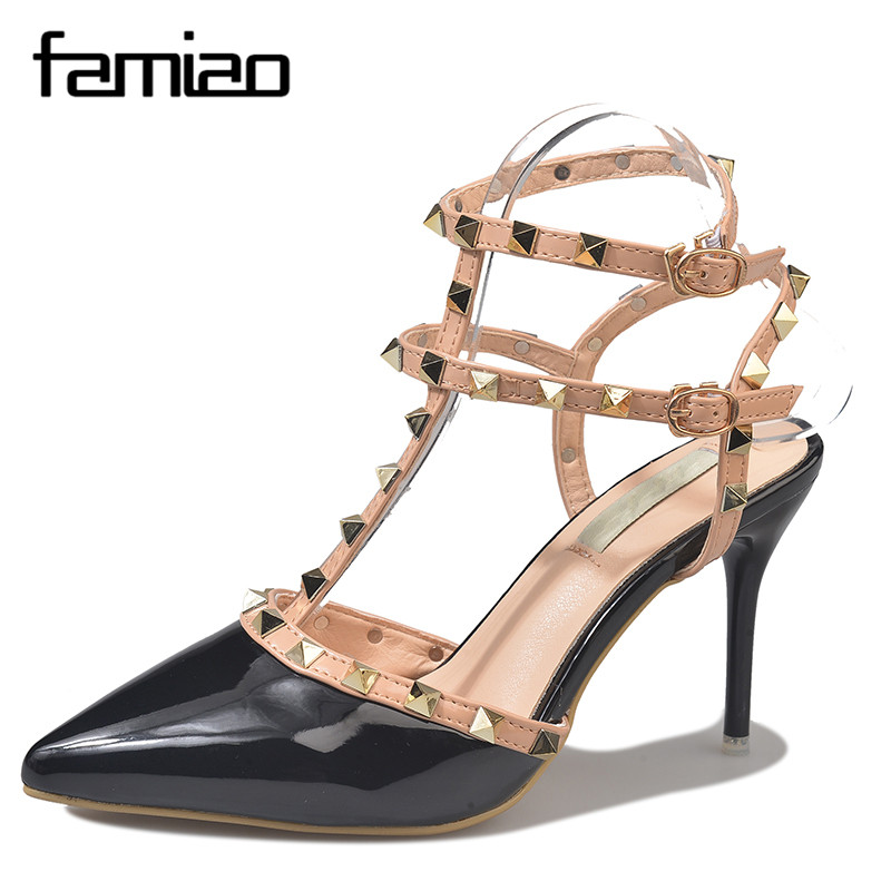 FAMIAO Hot Women Pumps Ladies Sexy Pointed Toe High Heels Fashion wedding pumps Buckle Studded Stiletto High Heel Sandals Shoes hot 2016 new fashion t strap buckle pumps women high heels ladies sexy pointed toe summer party wedding patchwork shoes sandals