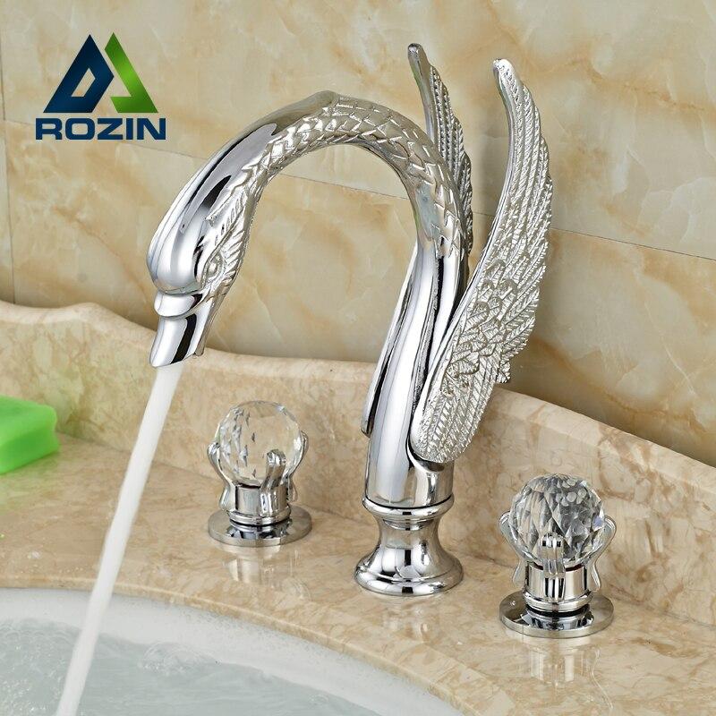 цена на High-end Deck Mount Swan Style Dual Handles Bathroom Basin Sink Faucet Chrome Finish