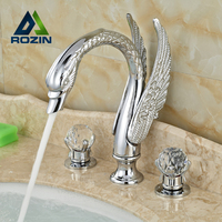 High end Deck Mount Swan Style Dual Handles Bathroom Basin Sink Faucet Chrome Finish