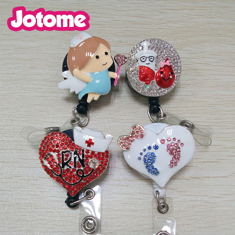 Medical nurse angel retractible badges holder red heart stethoscope id RN brooch credential holder medical pharmacy pin ...