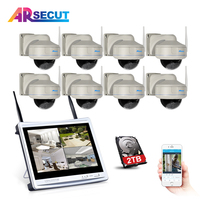 New Arrival 8CH 12 LCD Wireless CCTV System 960P HD Vandalproof Dome Night Vision Security Cameras