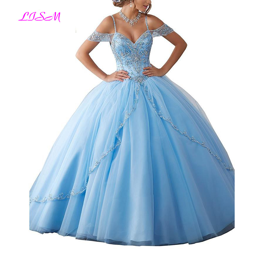 Luxury Crystals Ball Gown Quinceanera Dresses Sweetheart Long Sweet <font><b>16</b></font> Dress Princess Tulle Prom Dress <font><b>Teen</b></font> <font><b>Girls</b></font> Pageant Gowns image