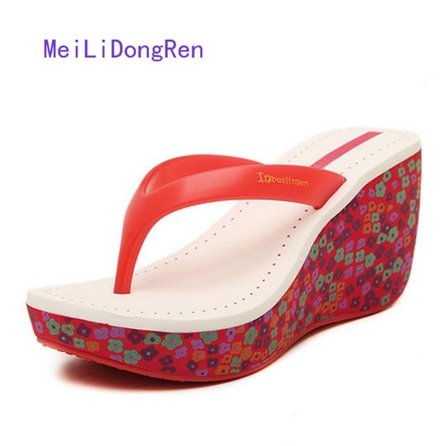2b20f28dd14 Branded Wedge Sandals Ladies Summer Beach Shoes Platform Flip-flops Female  Shoes Small Size 35-39 sandales talon femme