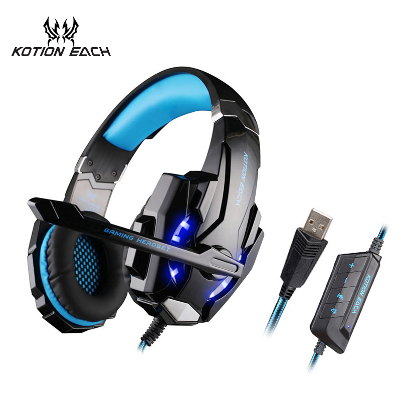 KOTION EACH Gaming Headset 7.1 USB PC Headphone 7.1 Surround Gaming Headphones With Microphone For Computer Headset Gamer 7.1 each g8200 gaming headphone 7 1 surround usb vibration game headset headband earphone with mic led light for fone pc gamer ps4