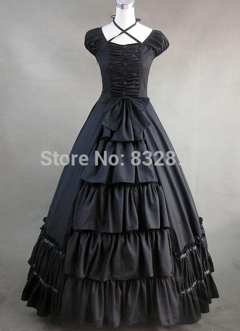 Black Gothic Victorian Style Dress Victorian Costume Dress