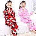 2-12years 2016 nova moda crianças pijama de flanela conjuntos de pijama de inverno quente crianças