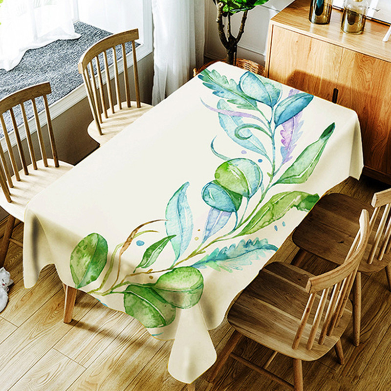 Multi Size Green Tree Flower Plant Table Cloth Waterproof Oilproof Rectangle Wedding Home Dinner Tea Decorative Cover