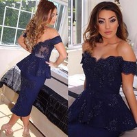 Sexy Off the Shoulder Lace Navy Blue Homecoming Cocktail Dresses 2018 Short Prom Party Gowns