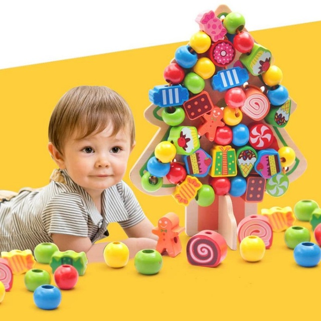 Fly AC Montessori Learning Education Wooden Toys Cartoon candy tree Fruit Beads Educational Toy For Children Birthday gift