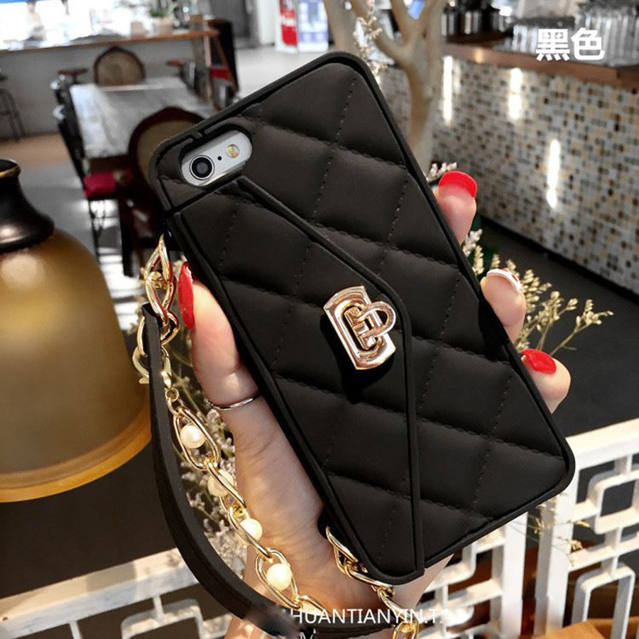 Detail Feedback Questions about Case for iPhone XS MAX XR x 7 8 Plus Luxury  Wallet Women s Handbag Card Silicone Cover for iPhone 6 6s plus with pearl  chain ... 60b4b54a5fd5