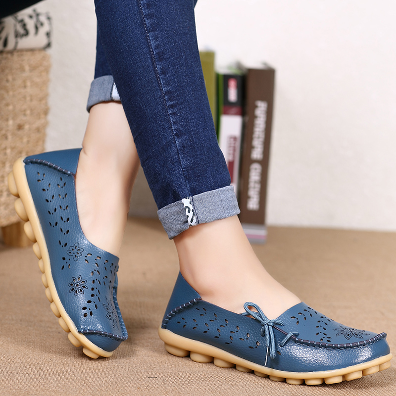 Women Flats Soft Genuine   Leather   Shoes Woman Loafers Slip On Flat Shoes Female Plus Size Nurse Shoes Causal Ladies Zapatos Mujer