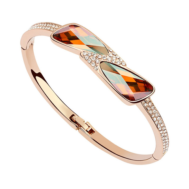Bangle Crystal from Swarovski Fashion Gold Plated Crystals Elements Bracelet for Woman Gorgeous Wedding Party Bride Jewellery
