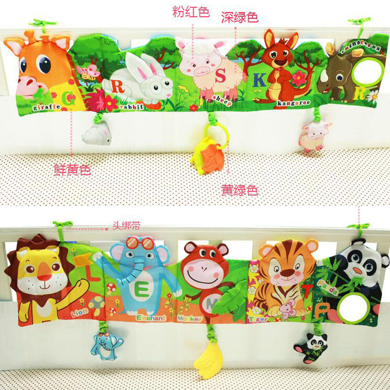 Bed Bumper Baby Bed Mobile Cloth Book Soft Plush Early Educational Cot Book Animal Toys Crib Bed Around Baby Bed Toy  J0082