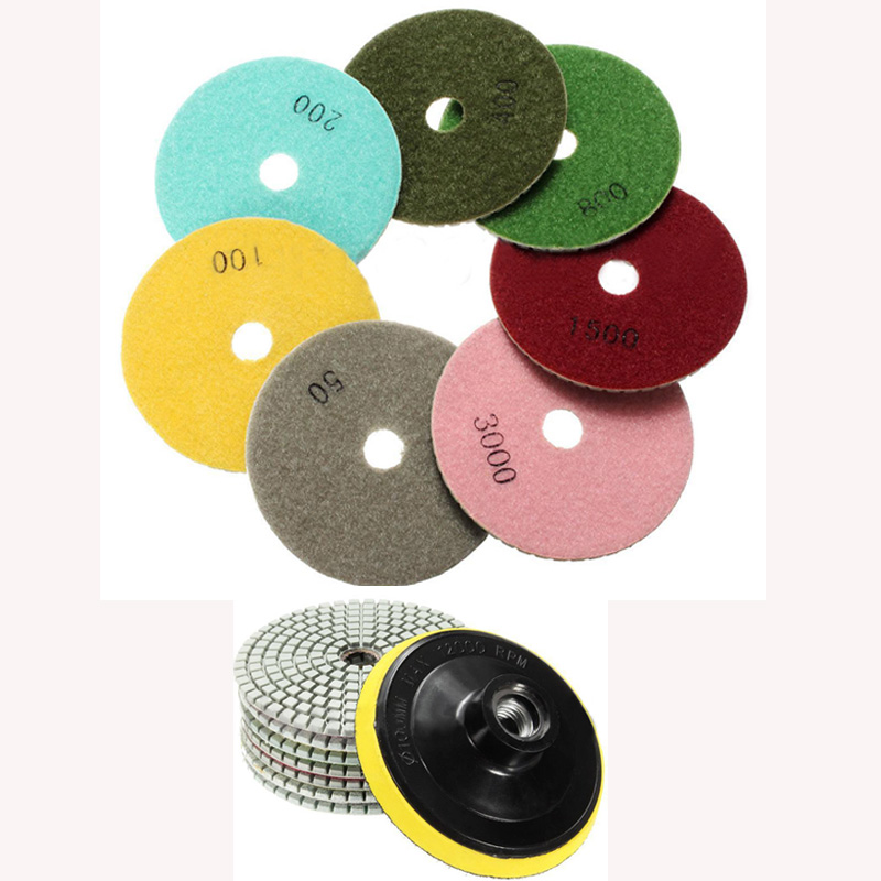 цена на Wet/Dry 4 Inch Diamond Granite Concrete Marble Polishing Pads Set Kit