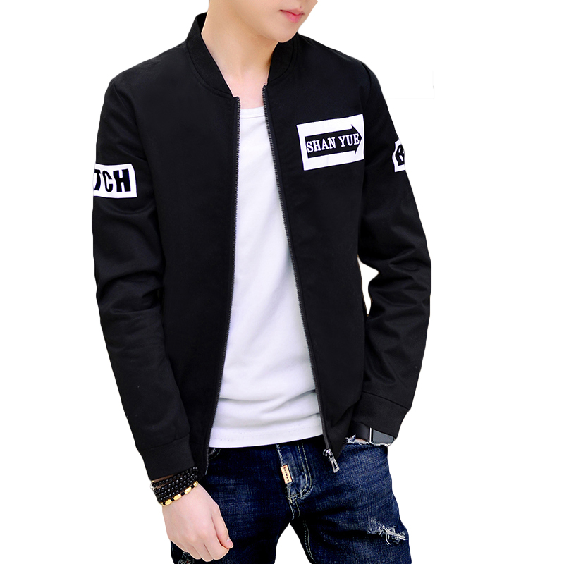 Black White Bomber Jacket Coat Men Fashion Spring Cotton ...