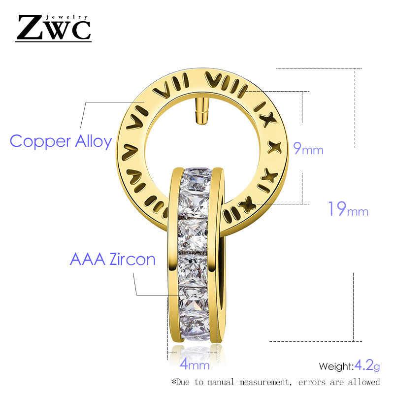 ZWC แฟชั่นสแตนเลสสตีลตัวเลขโรมันต่างหูสำหรับสาวปาร์ตี้บุคลิกภาพ Zircon คู่ต่างหูเครื่องประดับ