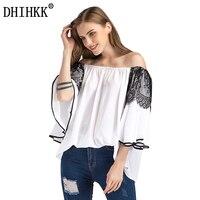 DHIHKK Spring Summer Women Tops Newest Fashion Slash Neck Mesh Patchwork Flare Sleeve Chiffon Blouse Shirt