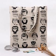 Black Owl Printed Canvas Handbag Beach Bags Female Casual Girl Tote Shopping Handbags Portable Bag Women Shoulder Bag KB-017