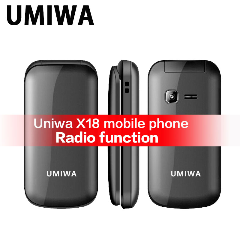 Uniwa X18 Elderly Phone Flip Mobile Phone GSM Senior Big Push-Button Flip Phone Dual Sim FM Radio Feature Phone Cellphone