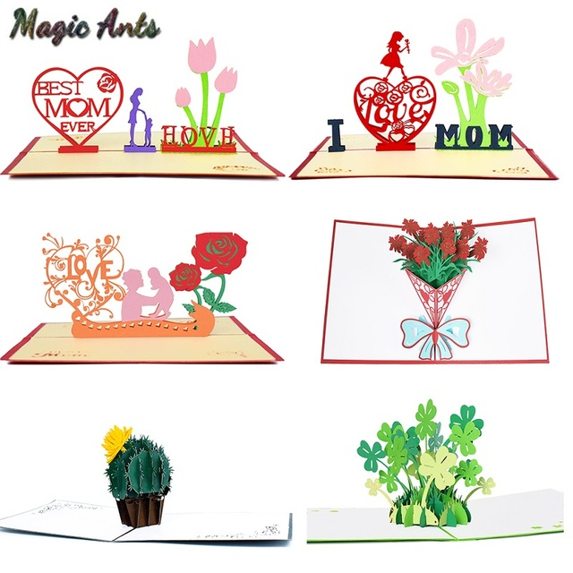 3D Pop Up Cards Mothers Day Gifts Card I Love Mom Carnation Flowers Bouquet Greeting For Mother Birthday