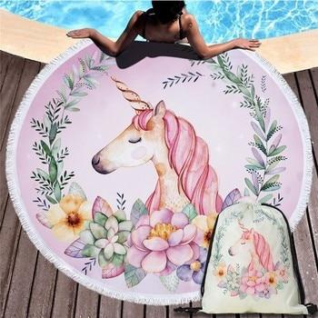 Cartoon Unicorn 150cm Round Beach Towel Wall Tapestry Picnic Blanket Portable Outdoor Sport Storage Bag Bundle Pocket Kids Gift 25