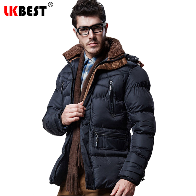 ФОТО LKBEST 2017 Fashion winter men parkas Hooded cotton winter men's coat Thick Warm mail outerwear overcoat brand clothing (PW609)