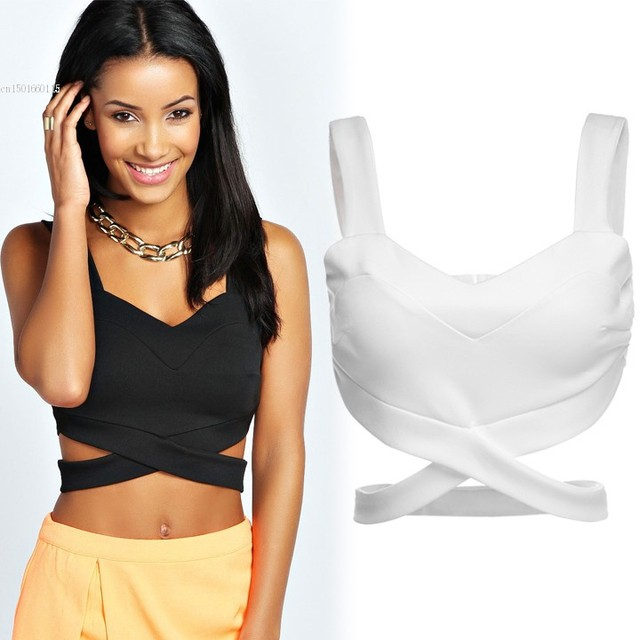 80b499e0280dd 2018 HOT Women Tight Crop Top Slim Fitting Sexy Casual Strap Tops Woman s  White Black Cropped