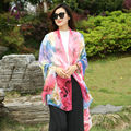 [YWJUNFU] Summer 100% Silk Scarve For Women Print Cover-ups Lady Chiffon Long Shawls 150*200cm Girls Beach Scarves Silk Wraps