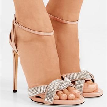 EMMA KING 2018 Summer Womens Sandals Sexy High Heels Wedding Party Open Back Button Diamond Stiletto Buckle Open Toe Big Size 43