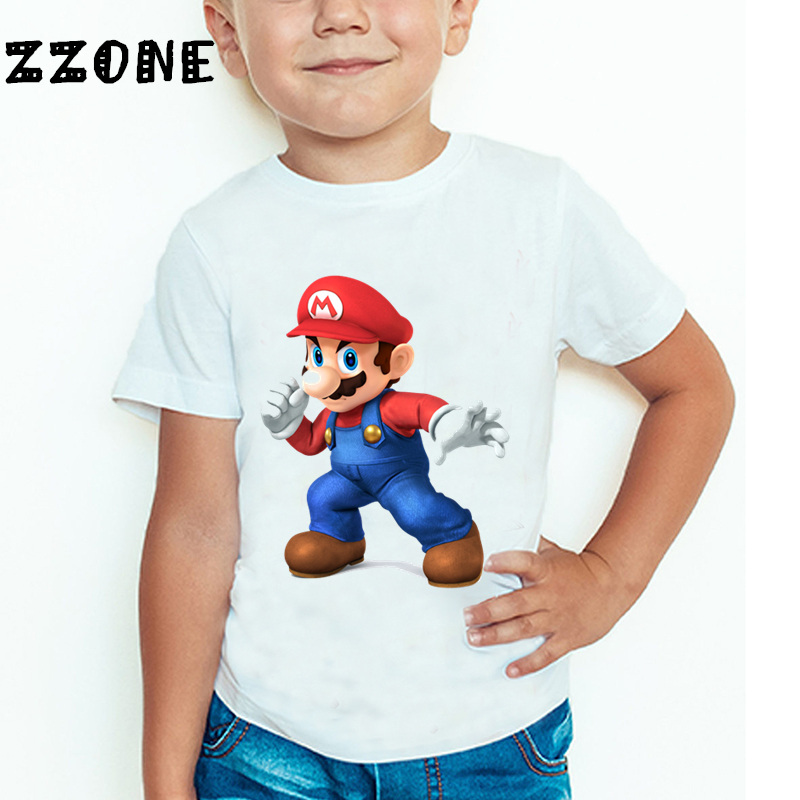 Baby Boys And Girls The Super Mario Bros Game Cartoon Fashion T Shirt Children Short Sleeve Summer Tops Kids Clothes,ooo5185