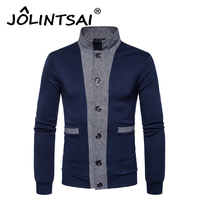 New Arrival Hot Patchwork Sweater Men Long Sleeve Cardigan Mens Stand Collar Sweaters Slim Fit Fashion