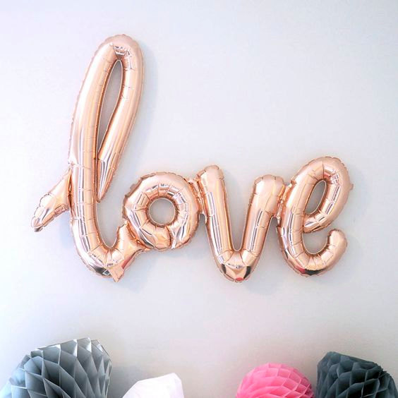 foil balloons love 5 colours heart ballon wedding
