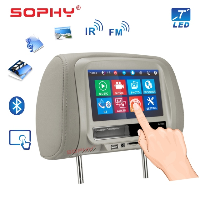 New! 7 inch Car Headrest Monitor Multi-Media Player Pillow Monitor Bluetooth MP4 MP5 Touch Screen Panel SH7068-P5