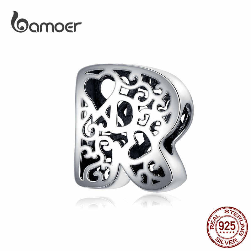 Bamoer металлические бусины с забавными пузырьками и буквами алфавита для оригинальных серебряных браслетов 925, подвески с сердечками, DIY ювелирные изделия SCC1229
